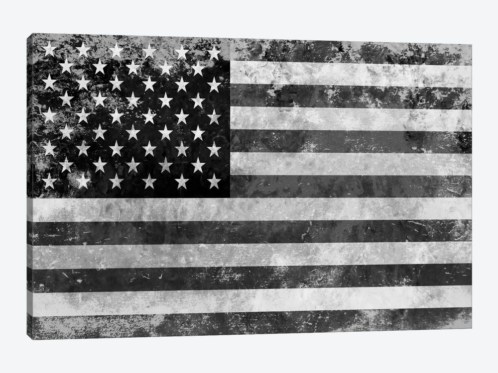"""USA """"Melting Film"""" Flag in Black & White II by iCanvas 1-piece Canvas Art Print"""
