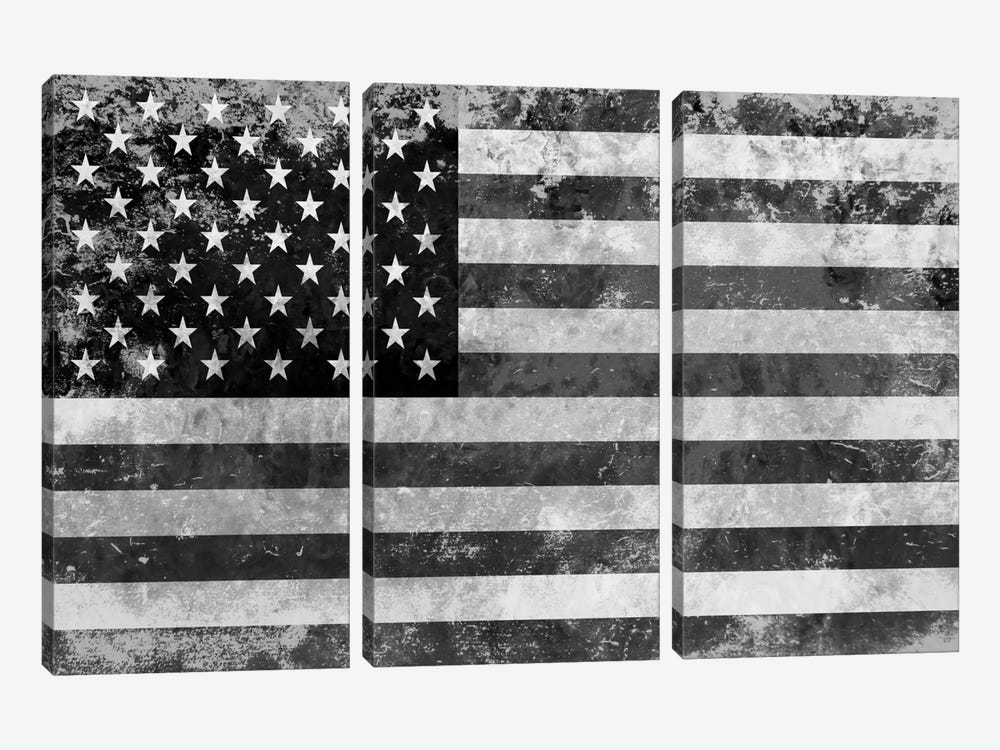 """USA """"Melting Film"""" Flag in Black & White II by iCanvas 3-piece Art Print"""