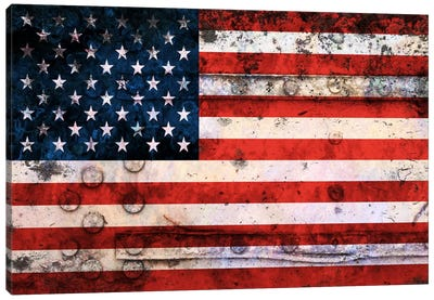 "USA ""Melting Film"" Flag on Riveted Metal Canvas Art Print"