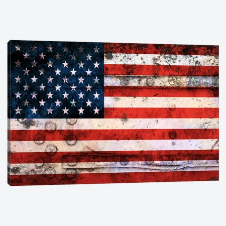 "USA ""Melting Film"" Flag on Riveted Metal Canvas Print #FLG441} by iCanvas Canvas Art"