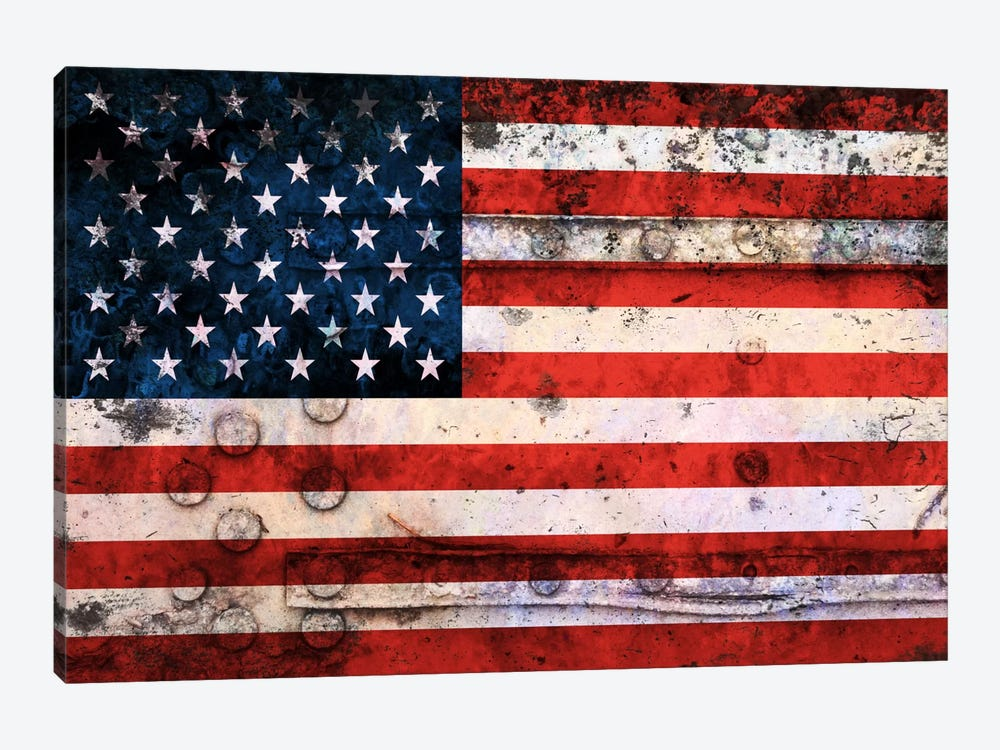 """USA """"Melting Film"""" Flag on Riveted Metal by iCanvas 1-piece Canvas Artwork"""