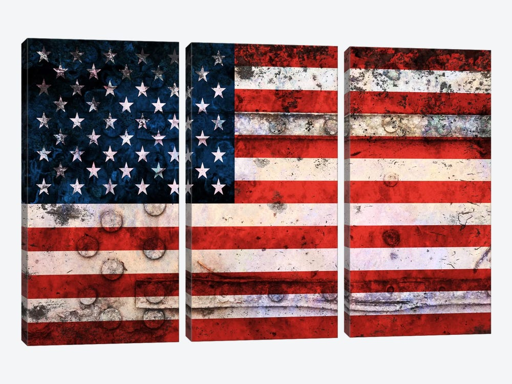 """USA """"Melting Film"""" Flag on Riveted Metal by iCanvas 3-piece Canvas Art"""
