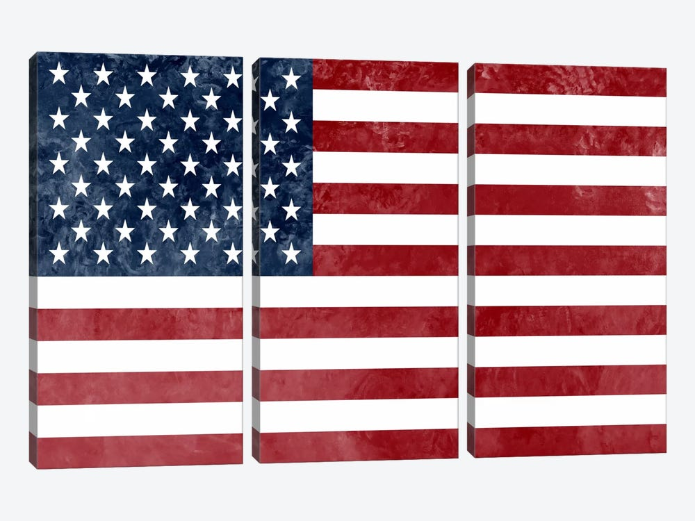 """USA """"Grungy"""" Flag by iCanvas 3-piece Canvas Wall Art"""
