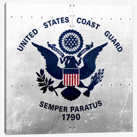 U.S. Coast Guard Flag (Riveted Metal Background) Canvas Print #FLG44} by iCanvas Canvas Print