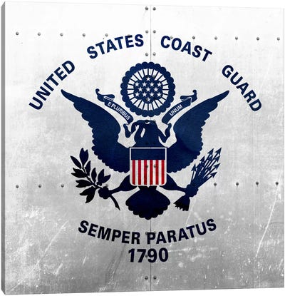 U.S. Coast Guard Flag (Square Ship Metal) Canvas Art Print