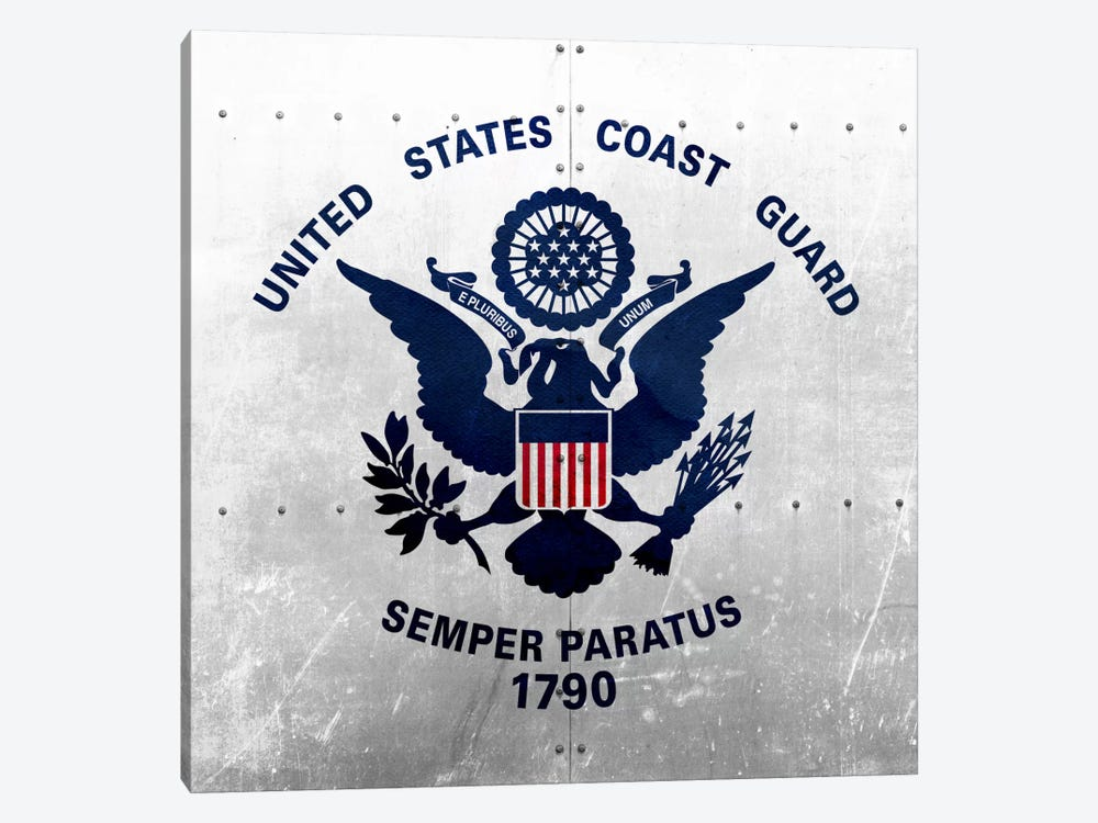 U.S. Coast Guard Flag (Riveted Metal Background) by iCanvas 1-piece Canvas Art
