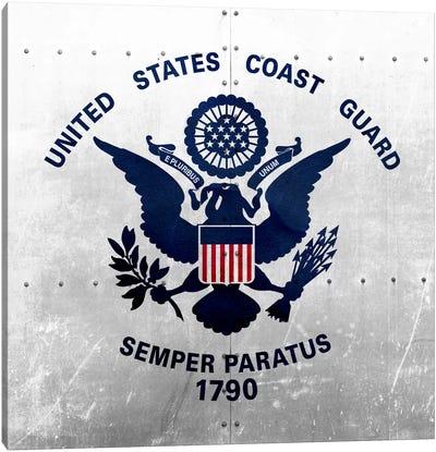 U.S. Coast Guard Flag (Riveted Metal Background) Canvas Art Print