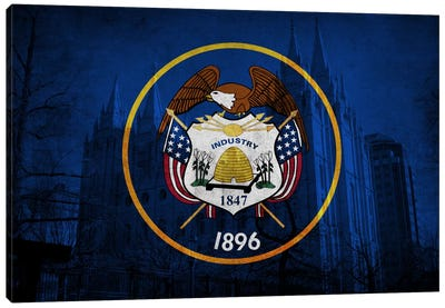 State Flag Overlay Series: Utah (Salt Lake Temple) Canvas Art Print