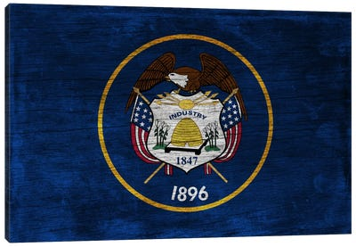 Utah State Flag on Wood Board Canvas Art Print