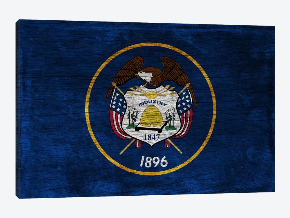 Utah State Flag on Wood Board 1-piece Canvas Wall Art