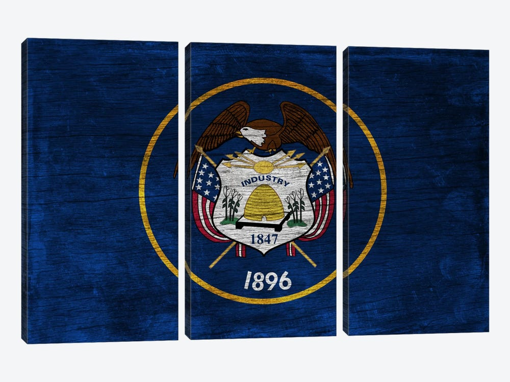 Utah State Flag on Wood Board 3-piece Canvas Art