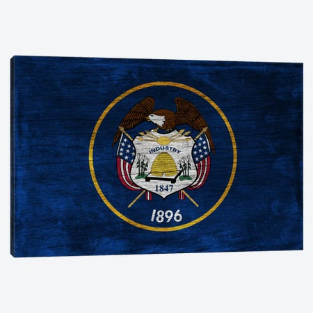 Utah State Flag on Wood Board Canvas Print #FLG454} by iCanvas Canvas Artwork