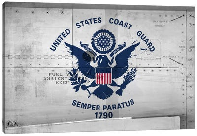 U.S. Coast Guard Flag (Sikorsky UH-60 Ambient Sense Port Background) II Canvas Art Print