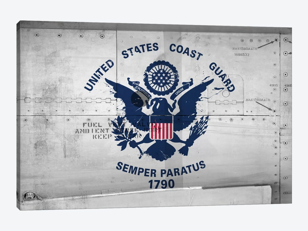 U.S. Coast Guard Flag (Sikorsky UH-60 Ambient Sense Port Background) II by iCanvas 1-piece Canvas Print