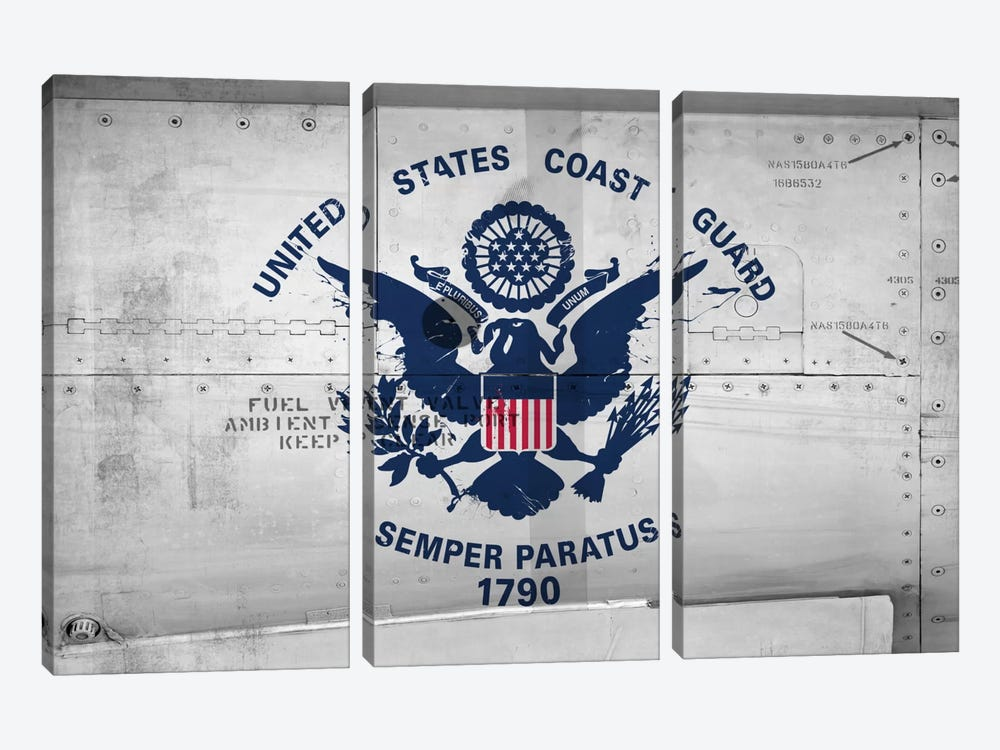 U.S. Coast Guard Flag (Sikorsky UH-60 Ambient Sense Port Background) II by iCanvas 3-piece Canvas Print