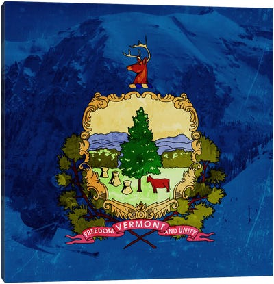 State Flag Overlay Series: Vermont (Skiing) Canvas Art Print