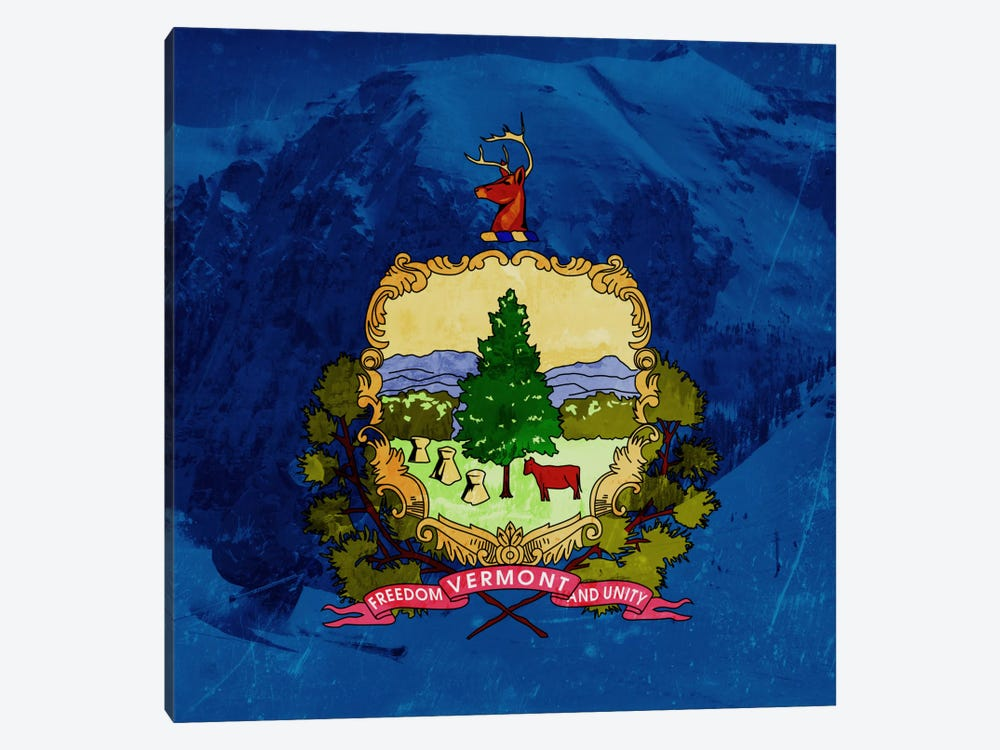 State Flag Overlay Series: Vermont (Skiing) by iCanvas 1-piece Canvas Wall Art