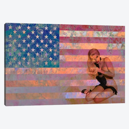 USA Flag (Vintage Pinup) Canvas Print #FLG466} by iCanvas Art Print