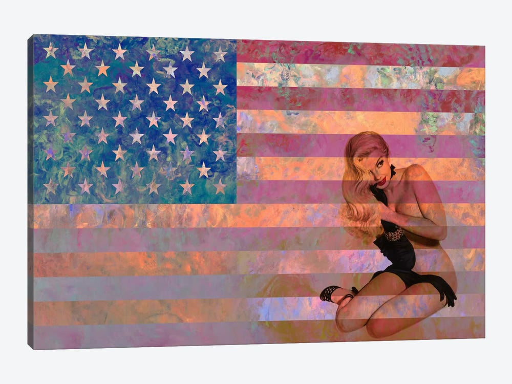 USA Flag (Vintage Pinup) by iCanvas 1-piece Art Print