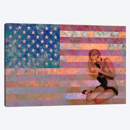 USA Flag (Vintage Pinup) Canvas Print #FLG466} by iCanvas Art Print