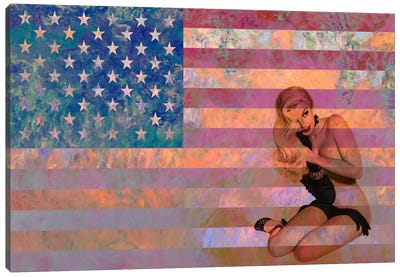 USA Flag (Vintage Pinup) Canvas Art Print
