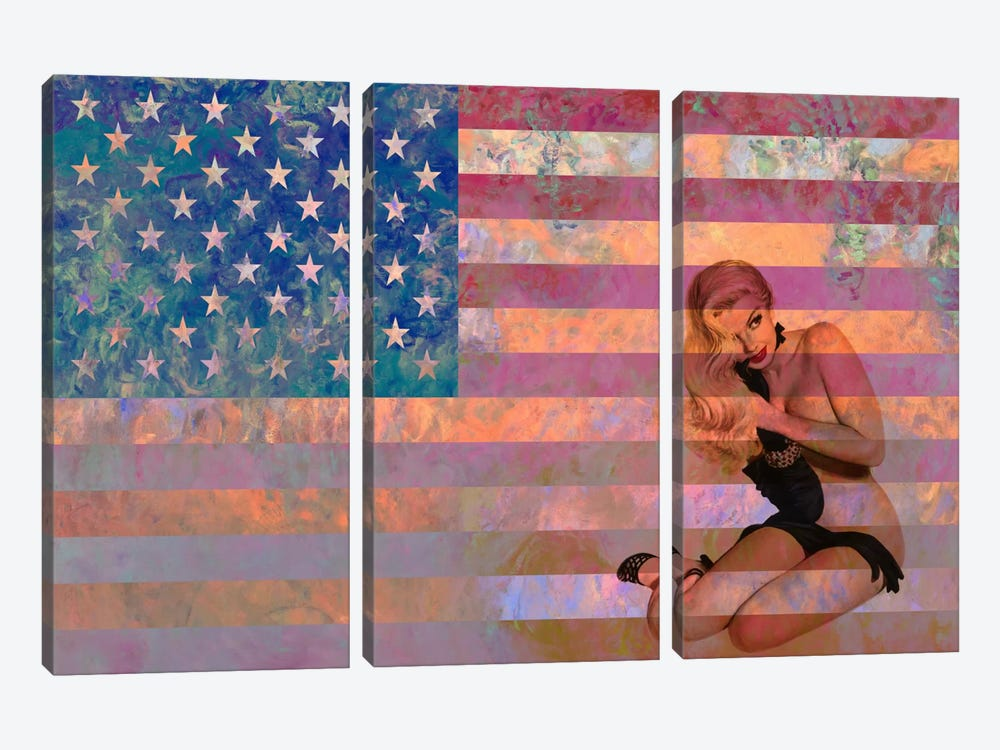 USA Flag (Vintage Pinup) by iCanvas 3-piece Canvas Print