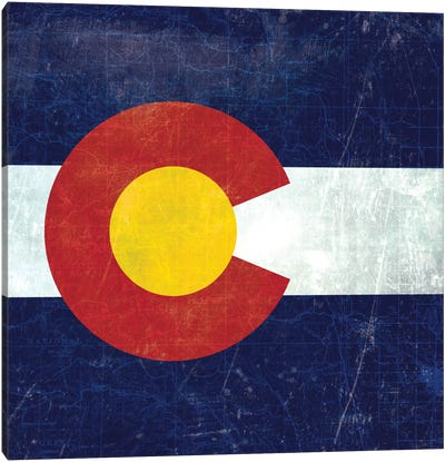 State Flag Overlay Series: Colorado (Vintage Map) Canvas Art Print