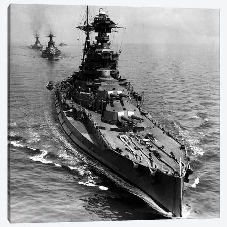 WWII Era Destroyer Fleet in B&W Canvas Print #FLG472} by iCanvas Canvas Print