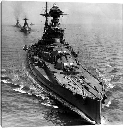 WWII Era Destroyer Fleet in B&W Canvas Art Print