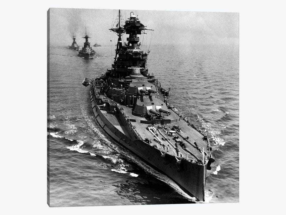 WWII Era Destroyer Fleet in B&W by iCanvas 1-piece Canvas Wall Art