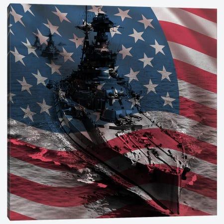 USA Flag (WWII Era Destroyer Fleet Background) Canvas Print #FLG473} by iCanvas Canvas Art Print