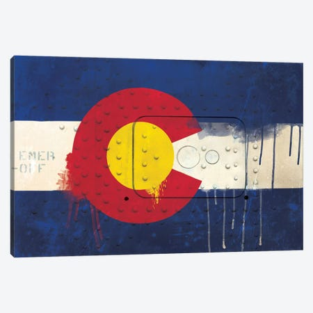 Colorado Paint Drip State Flag on Riveted Metal Canvas Print #FLG47} by iCanvas Canvas Art Print