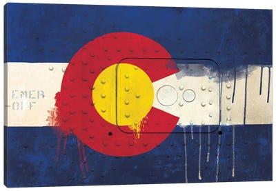Colorado Paint Drip State Flag on Riveted Metal Canvas Print #FLG47
