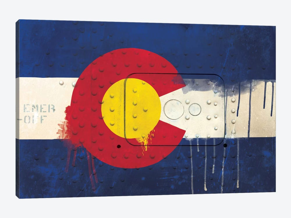Colorado Paint Drip State Flag on Riveted Metal by iCanvas 1-piece Canvas Print