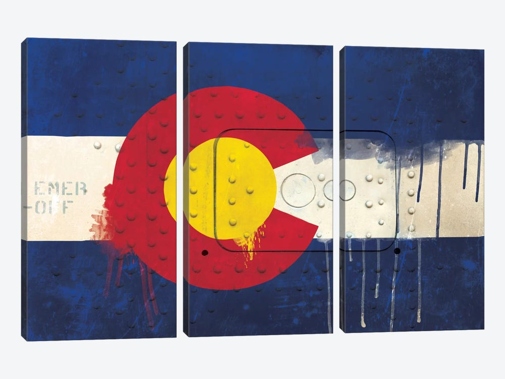 Colorado Paint Drip State Flag on Riveted Metal by iCanvas 3-piece Canvas Art Print