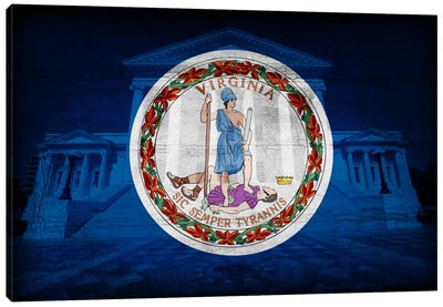 Virginia FlagState Capitol with Cracks Canvas Art Print