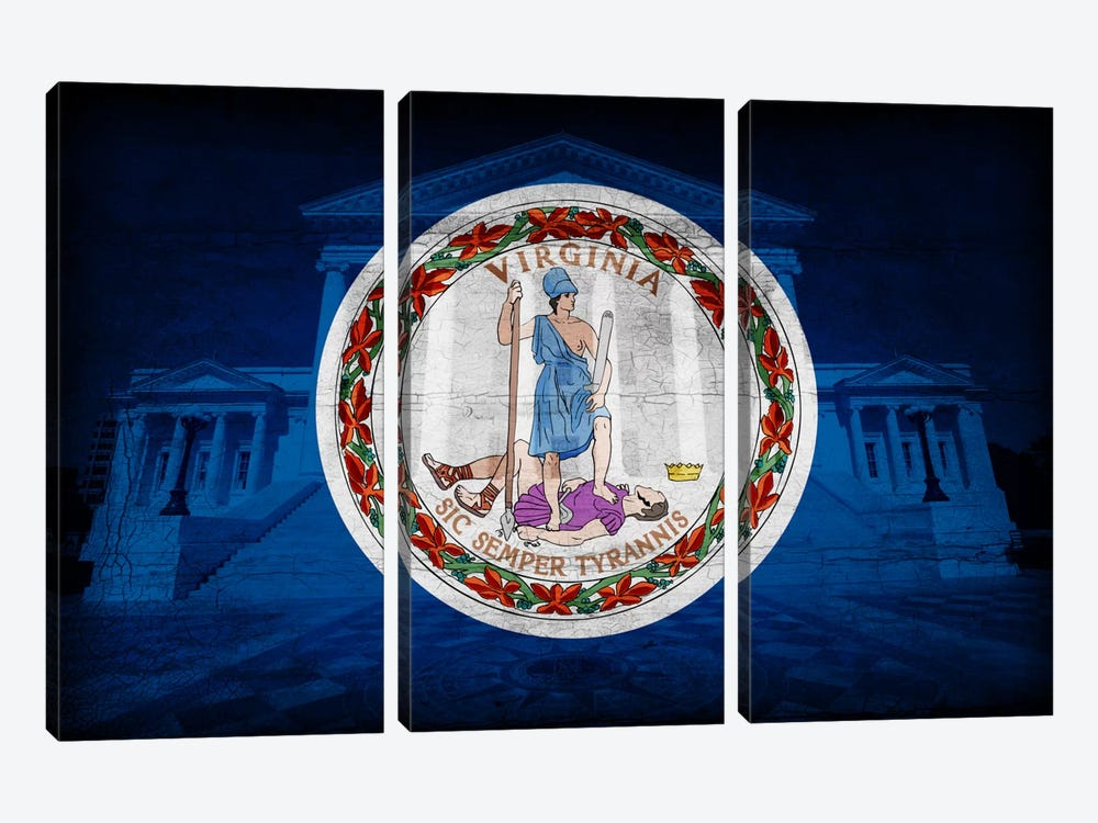 Virginia FlagState Capitol with Cracks by iCanvas 3-piece Canvas Artwork