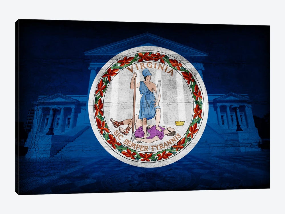 Virginia FlagState Capitol with Cracks by iCanvas 1-piece Canvas Wall Art