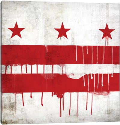 Washington, D.C. Paint Drip City Flag Canvas Art Print