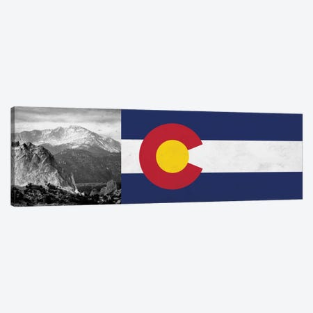 Colorado State Flag with Pikes Peak Photo Panoramic Canvas Print #FLG48} by iCanvas Canvas Wall Art