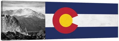 Colorado State Flag with Pikes Peak Photo Panoramic Canvas Art Print