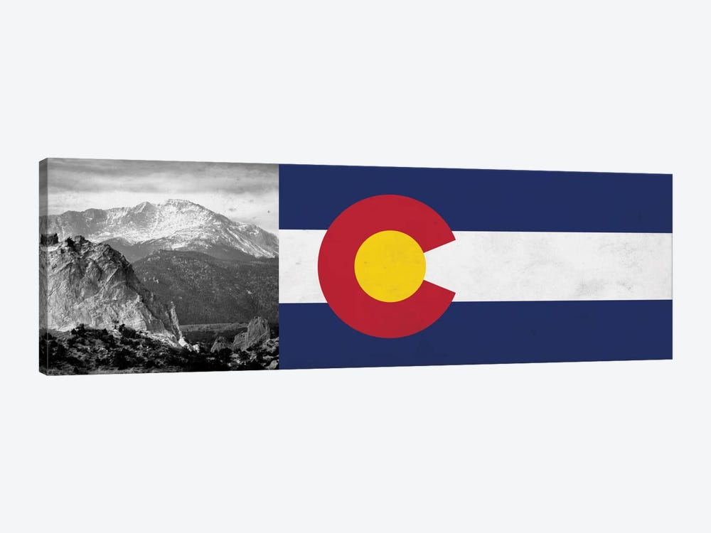 Colorado State Flag with Pikes Peak Photo Panoramic by iCanvas 1-piece Canvas Art