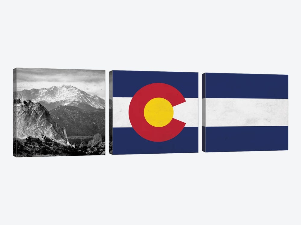 Colorado State Flag with Pikes Peak Photo Panoramic by iCanvas 3-piece Canvas Artwork