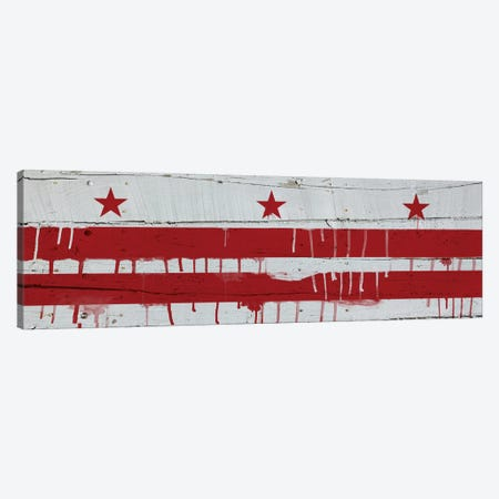 Washington, D.C. Paint Drip City Flag on Wood Planks Panoramic Canvas Print #FLG492} by iCanvas Canvas Art Print