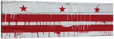Washington, D.C. Paint Drip City Flag on Wood Planks Panoramic Canvas Print #FLG492