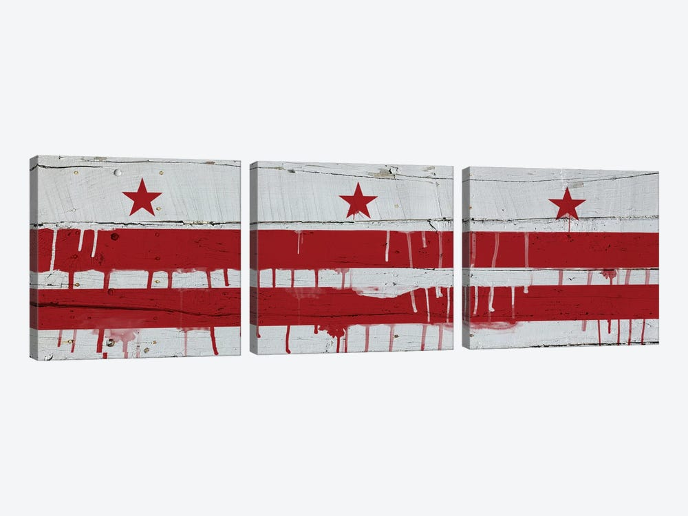 Washington, D.C. Paint Drip City Flag on Wood Planks Panoramic by iCanvas 3-piece Canvas Art