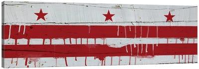 Washington, D.C. Paint Drip City Flag on Wood Planks Panoramic Canvas Art Print