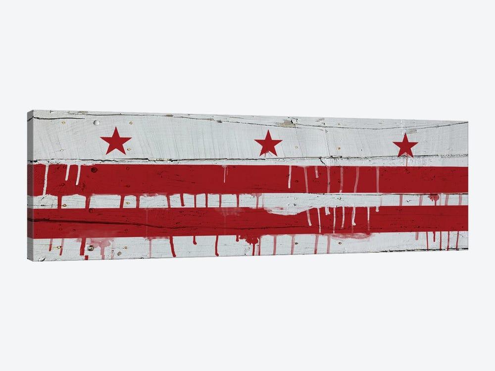 Washington, D.C. Paint Drip City Flag on Wood Planks Panoramic by iCanvas 1-piece Canvas Artwork