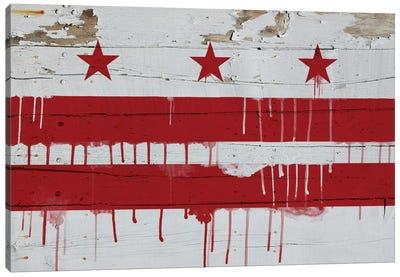 Washington, D.C. Paint Drip City Flag on Wood Planks Canvas Print #FLG493
