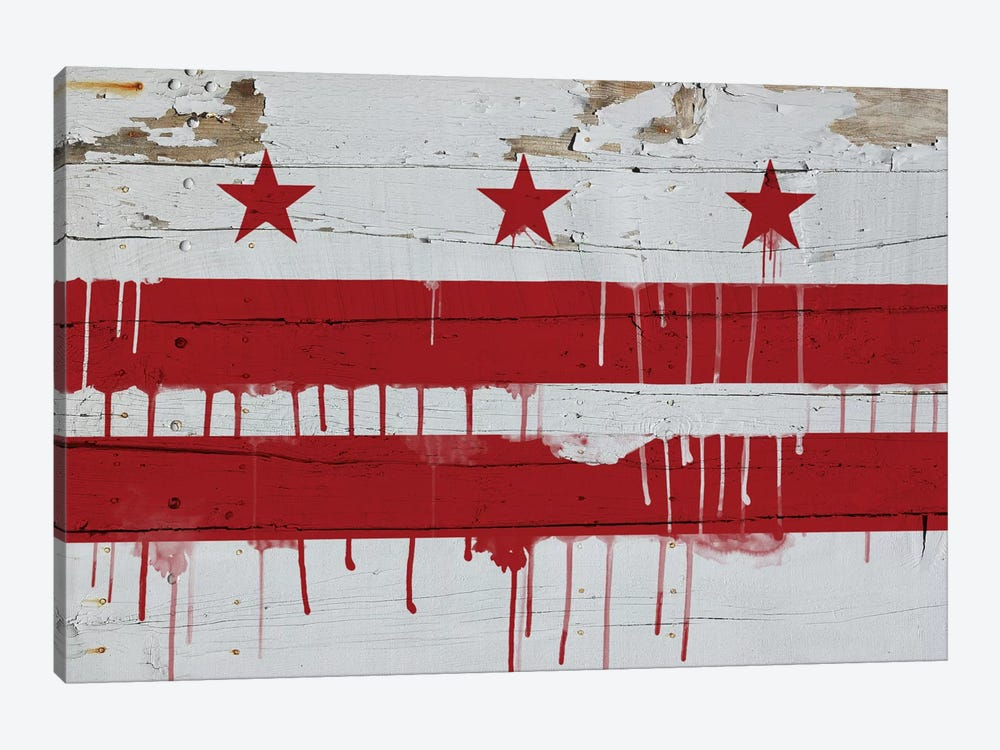 Washington, D.C. Paint Drip City Flag on Wood Planks by iCanvas 1-piece Art Print